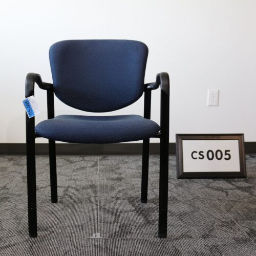 Used Haworth Improv blue fabric stack chair with black frame for sale at Monarch Office Furniture
