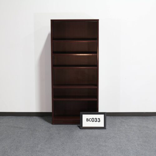 Picture of used mahogany laminate tall bookshelf for sale at Monarch Office Furniture