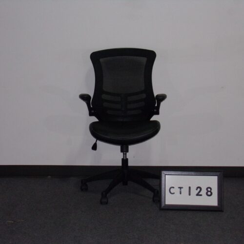 Picture of black mesh back chair with vinyl seat and arms for sale at Monarch Office Furniture