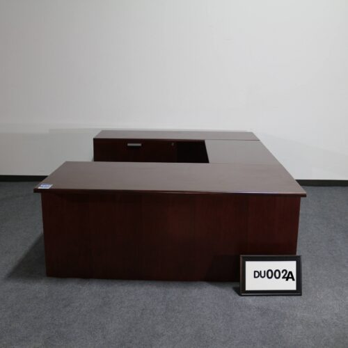 Picture of used Steelcase U-shaped desk with left return in mahogany finish for sale at Monarch Office Furniture
