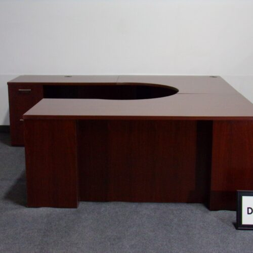 Picture of used u-shaped desk in mahogany laminate with reeded edge, 2 storage peds, for sale at Monarch Office Furniture