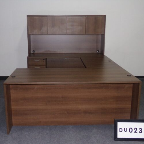 Picture of used U-shaped desk in walnut laminate with hutch and credenza for sale at Monarch Office Furniture