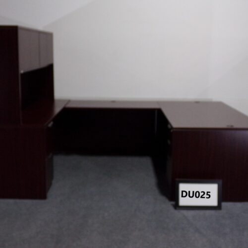 Picture of used mahogany u-shaped desk with hutch and credenza for sale at Monarch Office Furniture