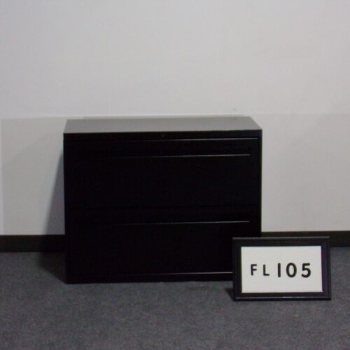 Picture of used HON black metal 2-drawer filing cabinet