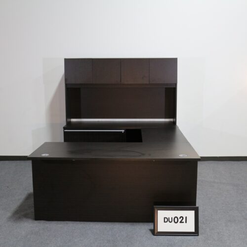 Picture of used Cherryman espresso U-shaped desk with left return, storage ped, lateral file and hutch for sale at Monarch Office Furniture
