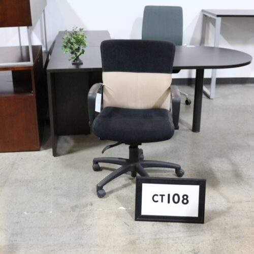 Picture of Allseating executive chair in back and tan fabric for sale at Monarch Office Furniture