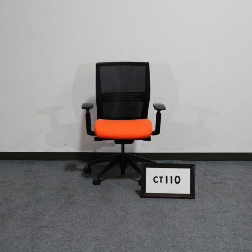 Picture of used SitOnIt Seating orange and black mesh back task chair for sale at Monarch Office Furniture