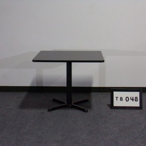 """Picture of used 36"""" square black laminate breakroom table with black metal x-base for sale at Monarch Office Furniture"""