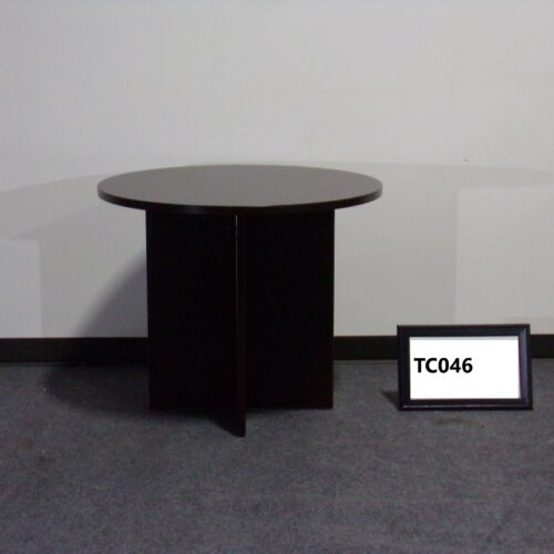 """Picture of used espresso laminate 41"""" round table for sale at Monarch Office Furniture"""